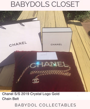 CHANEL Crystal Logo Chain Belt Auth