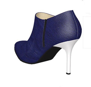 YACHTIE  Navy Blue Pony Hair Ankle Boot w White Leather Stiletto Heel