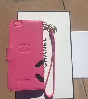 CHANEL Auth Leather IPhone Case, Black/White & Bubble Gum Pink