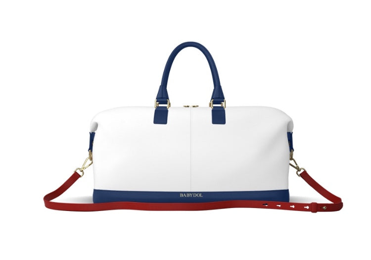 AMERICAN DOLL White Leather w Navy Blue and Red Strap Weekender Bag