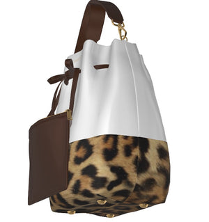 UPTOWN KITTY Leather Bucket Bag w Matching Leather Mini Pouch, w Leopard