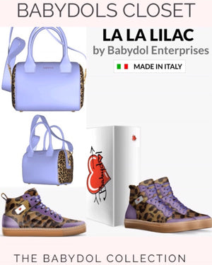 LA LA LILAC Leather Lace-Up with Leopard Sport Shoe inspired by Vanderpump Rules La La Kent