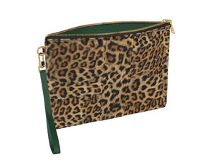GREEN WITH ENVY Leopard Clutch Bag w Emerald Green Leather Accents