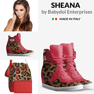 SHEANA Red Leather High-Top, Leopard Sports Shoe inspired by Vanderpump Rules Sheena Marie.