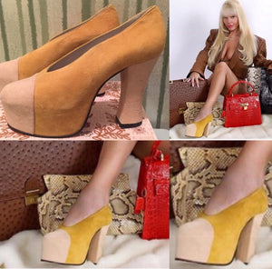 PLATFORM PUMPS Worn for BABYDOLS CLOSET AD in 100% Yellow Suede