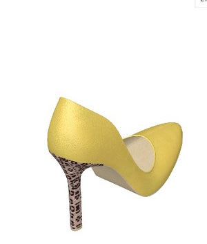 BUTTERCUP Yellow Leather Stiletto Pump with Leopard
