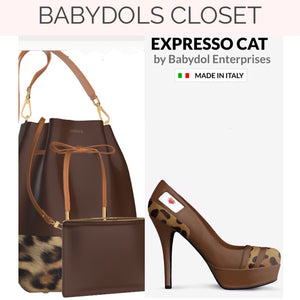 EXPRESSO CAT Expresso Brown Leather Pump w Leopard Accents