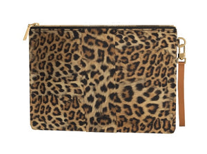 COCOA PUFF Leopard Hair Clutch w Cocoa Leather Accent.