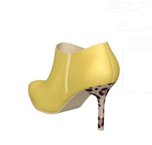 BUTTERCUP Yellow Leather Ankle Boot with Leopard Stiletto Heel