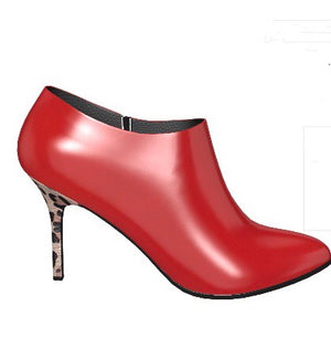 BITCH Lipstick RED Patent Leather Ankle Boot w Leopard Stiletto