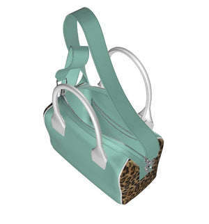 MINT COOKIE Pistachio Mint Leather Bowler Bag  with Leopard