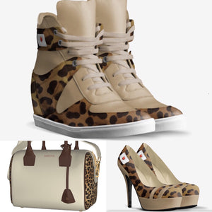 FALL 4U Cream Leather Platform Hi Top Sports Sneaker w Leopard