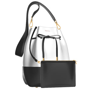 VA VOOM White Leather Bucket Bag/Black Leather Base w Mini Leather Zip Pouch
