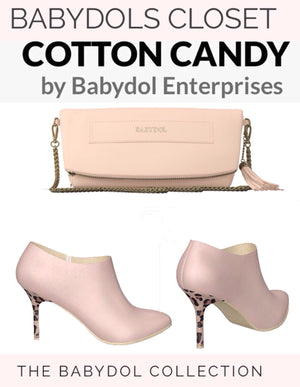 COTTON CANDY Leather Clutch with Chain Strap