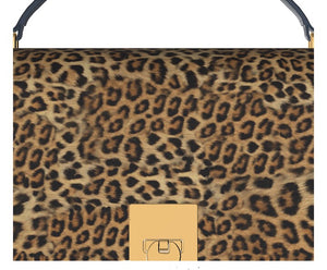 GLAMOUR GIRL Leopard Hair Bowler Bag w Turquoise Leather Sides