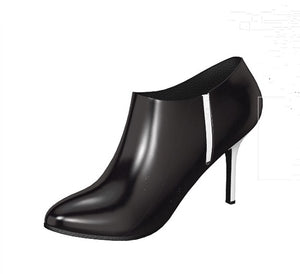 BLACKOUT Black Patent Leather Stiletto Ankle Boot