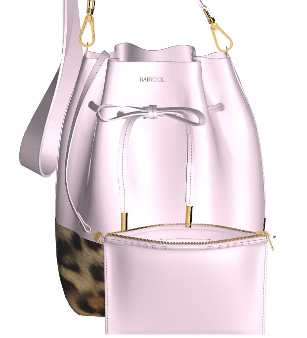 GLAMOUR GIRL Leather Bucket Bag w Leopard, & Matching Mini Leather Pouch (Petal Pink)