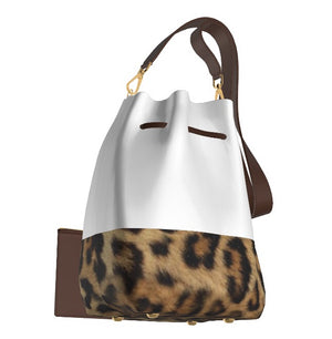 UPTOWN Kitty White Leather Bucket Bag w Leopard, & Matching Choco Brown Leather Zip Mini Pouch