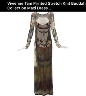 VIVIENNE TAM Buddha Dress Rare Couture 1990s 'Long Night Out' Vintage Maxi Dress
