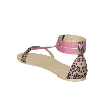 PINK FLAMINGO Pink Patent Leather Flat Sandal with Leopard Heel