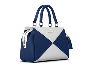YACHTIE Leather Navy Blue/White Large Satchel