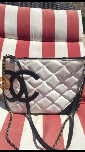 CHANEL Auth Cambon Black/White Leather Bag