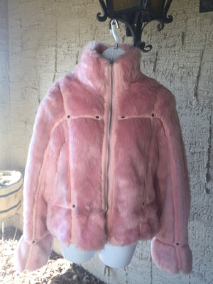 Bubble Gum Pink Faux Fur Rabbit Jacket