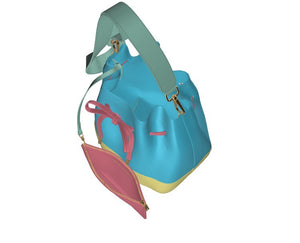 Summer Girl Leather Bucket Bag w Strap; w Matching Leather Mini Zip Pouch w strap.