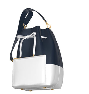 THE SOPHISTICATE Navy Blue/White Leather Bucket Bag, w Matching Leather Leather Mini Zip Pouch
