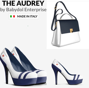 The AUDREY Chalk White Leather w Navy Blue Leather Accents Platform Pump