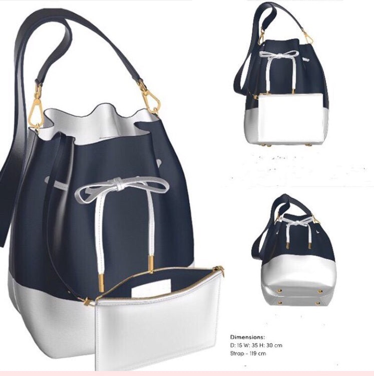 BLACKOUT Black Leather and White Leather Base Bucket Bag w Matching Zip Mini Pouch
