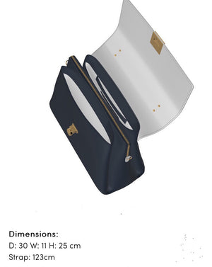The SOPHISTICATE Navy Blue Leather w White Leather Classic Hand Bag