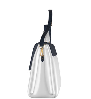 The AUDREY Classic White Leather w Navy Blue Leather Accents Handbag