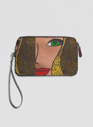 GODDESS Leather Clutch Bag w Strap