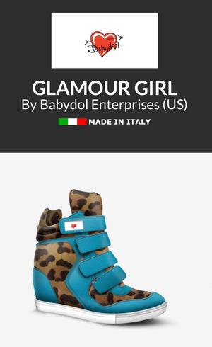 GLAMOUR GIRL Turquoise Leather Hi-Top Platform Sports Sneaker w Leopard.
