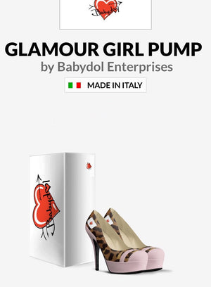 The GLAMOUR GIRL Petal Pink Suede w Leopard Hair Platform Pump
