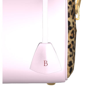GLAMOUR GIRL Petal Pink Leather Bowler Bag w Leopard.