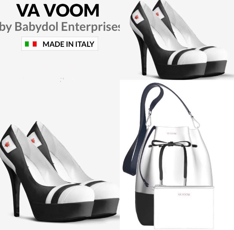 VA VOOM Platform Black Leather Pumps w White Leather Accents