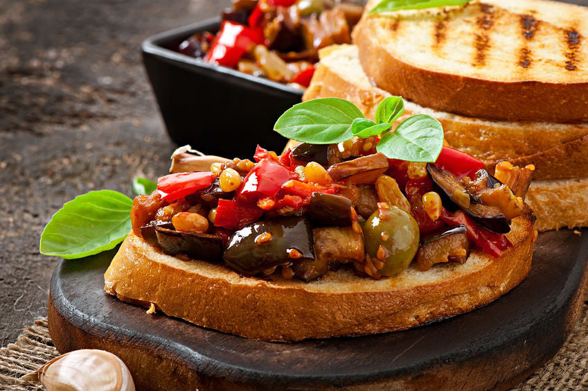 Bruschetta Caponata with Raisins and Pine Nuts