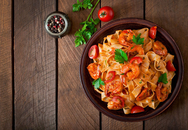 Tagliatelle Pasta with Shrimp and Cherry Tomatoes