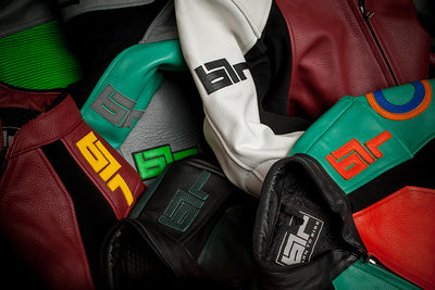 Colourful downhill longboarding leather suits
