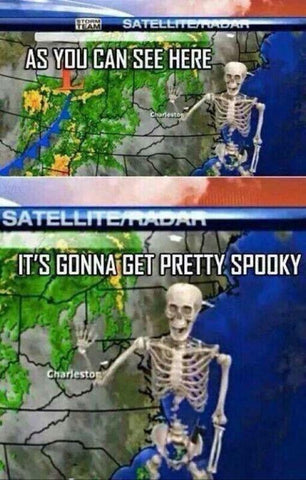 DHC Monthly Meme Roundup Halloween Edition Skeleton Weatherman