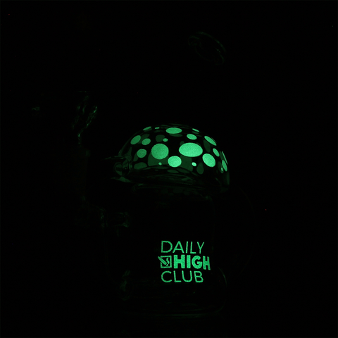 Daily High Club August 2019 Glow in the Dark Mushroom Recycler Bong