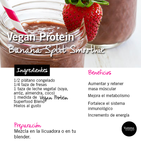 Vegan Protein Banana Split Smoothie