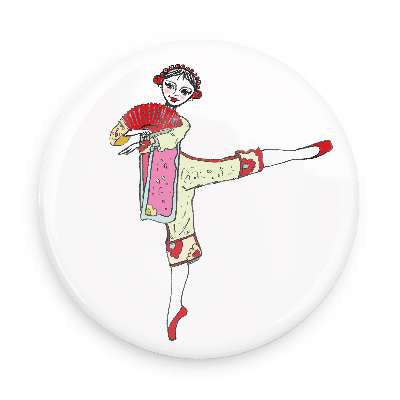 Button - Chinese Dancer / Tea