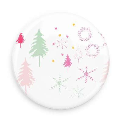 Pocket Mirror - Snowflakes & Trees