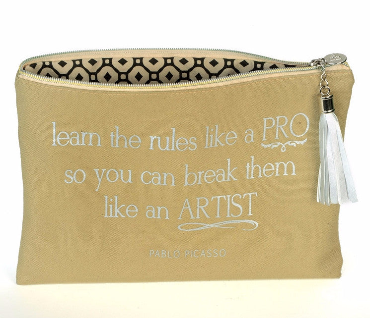 Canvas Cosmetic Bag - Pablo Picasso Quote