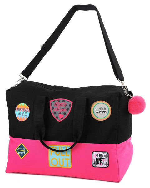 Patch Dance Bag with Pom Pom - Black & Pink