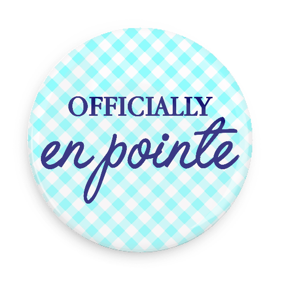 Button - Officially En Pointe (Blue/White)