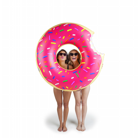 Giant Donut Pool Float - Frosted Strawberry Flavor
